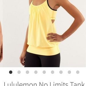 Lululemon No Limits Tank Yellow/Navy size 10